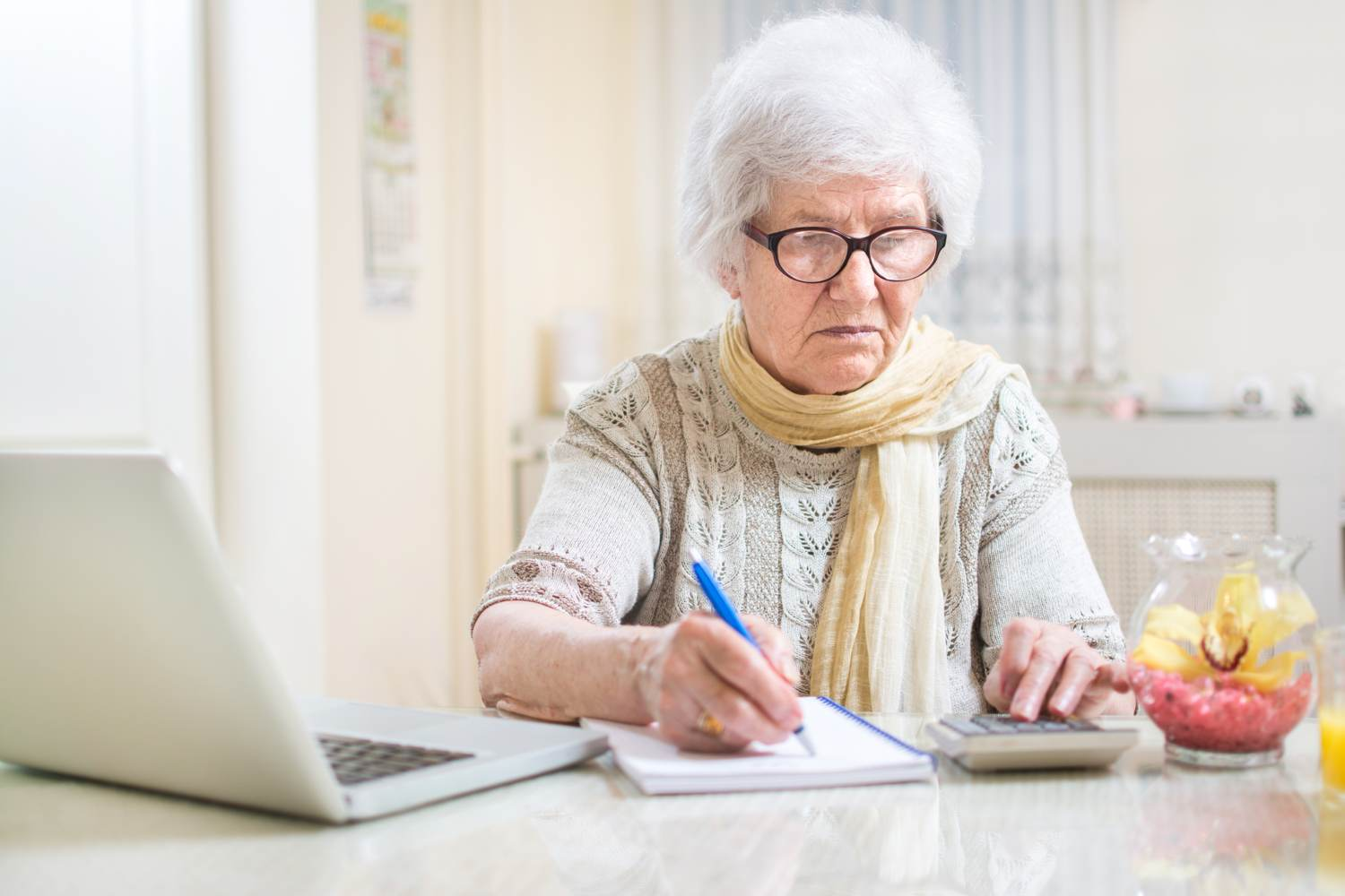 shu-Elderly woman doing finances-744729046-Bojan Milinkov